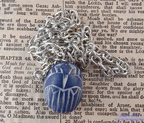 Small Blue Scarab Beetle Necklace by Ugly Shyla