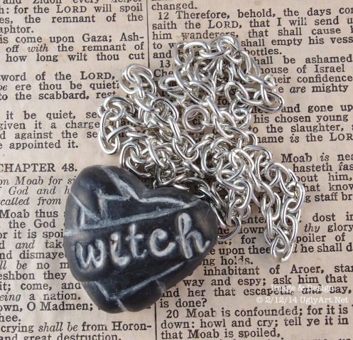 Small Witches Black Heart Necklace by Ugly Shyla