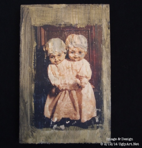 Conjoined Twins Collage on Wood by Ugly Shyla ready to hang art