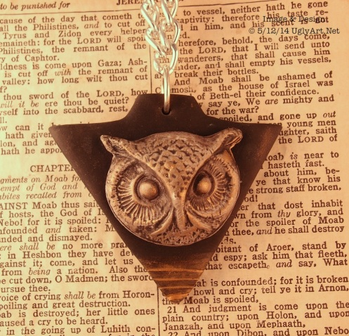 Clairvoyance Owl Triangle Long Polymer Clay Necklace In Black and Gold by Ugly Shyla